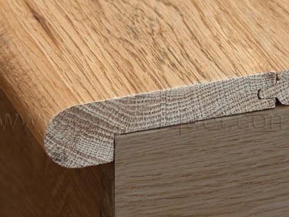 High Quality Stair Nose Molding Is Used In Conjunction With A Hardwood Floor Installation  To Finish Off The Step Or Stairwell Where The Hardwood Floor Stops.